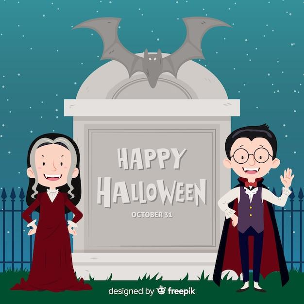 Fundo de dia das bruxas com casal de vampiros Vetor grátis