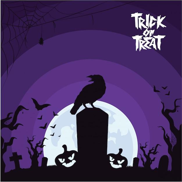 Fundo de dia das bruxas com corvo no cemitério Vetor Premium