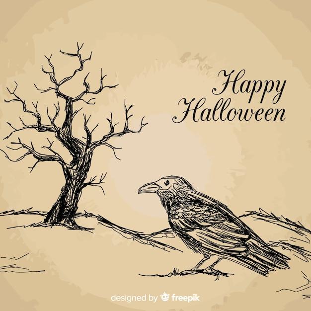Fundo de dia das bruxas com corvo Vetor grátis