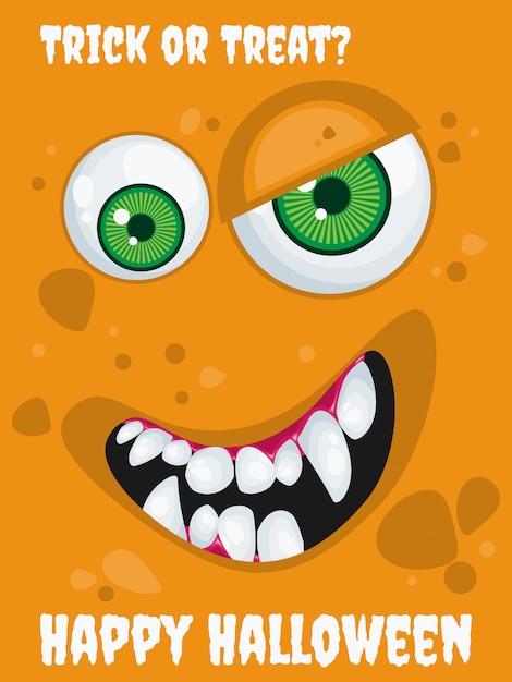 Fundo de dia das bruxas com o monstro de expressão dos desenhos animados. Vetor Premium