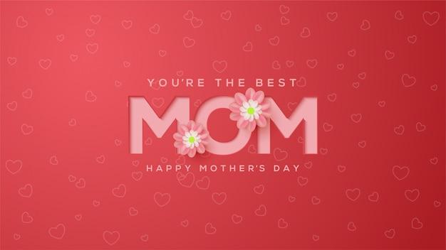 Fundo de dia das mães com ilustrações em relevo coloridas rosa com flores cor de rosa. Vetor Premium