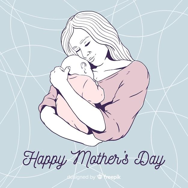 Fundo de dia das mães de mão desenhada Vetor grátis