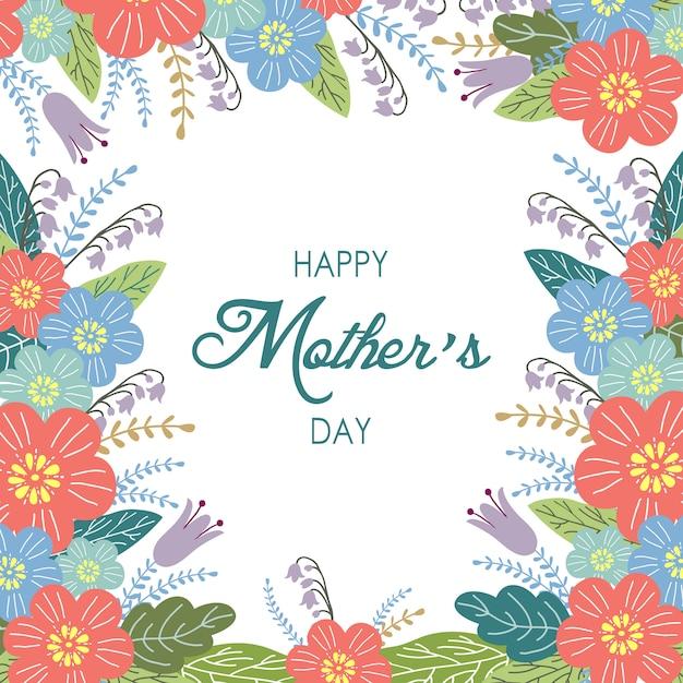 Fundo de dia das mães feliz com flores Vetor Premium