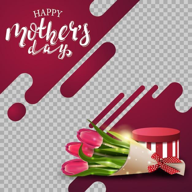 Fundo de dia das mães modelo com linhas de néon Vetor Premium