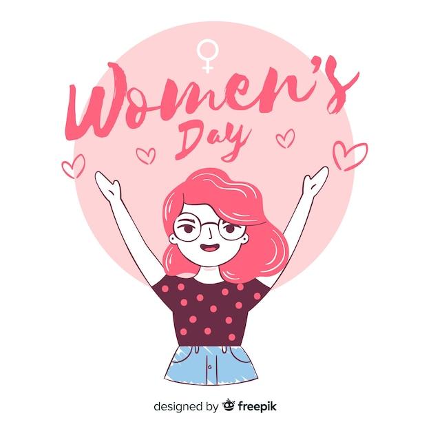 Fundo de dia das mulheres de mão desenhada Vetor grátis