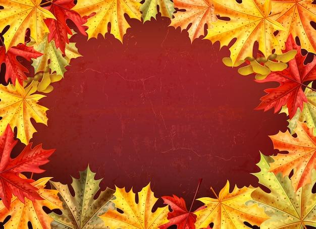 Fundo de dia de ação de graças com folhas de uma ilustração em vetor estilo árvore maple Vetor grátis