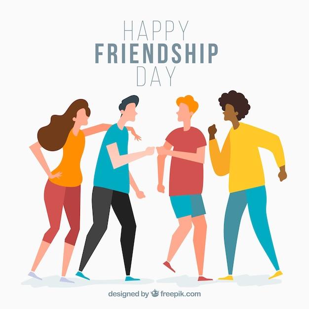 Fundo de dia de amizade com amigos Vetor grátis