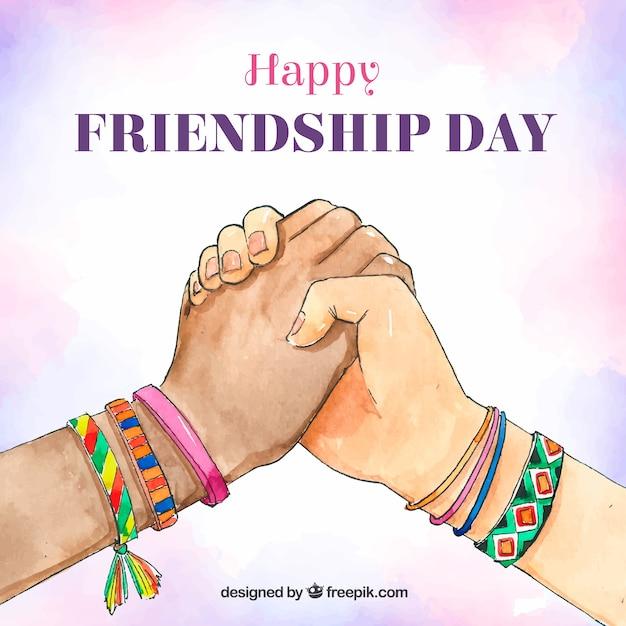 Fundo de dia de amizade com as mãos Vetor grátis