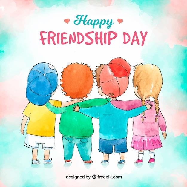 Fundo de dia de amizade com crianças Vetor grátis