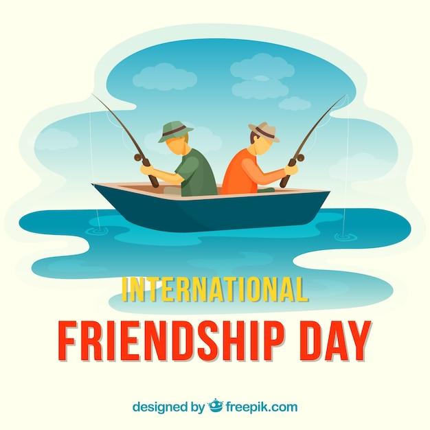Fundo de dia de amizade com homens pescando Vetor grátis