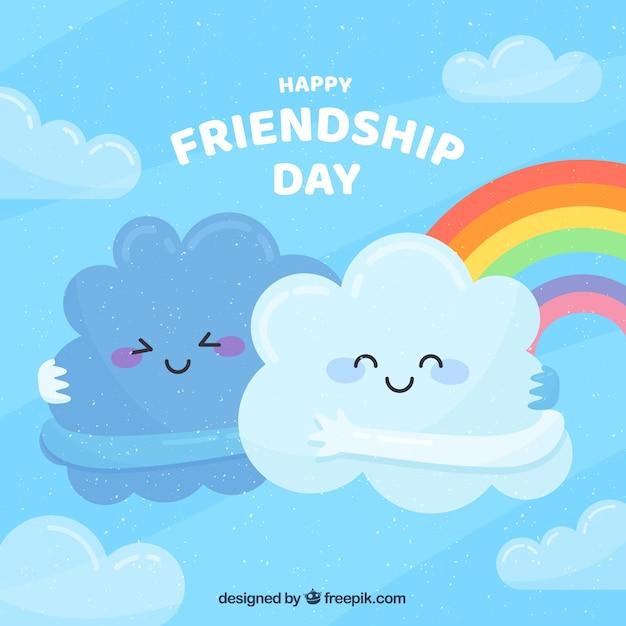 Fundo de dia de amizade com nuvens fofos Vetor grátis