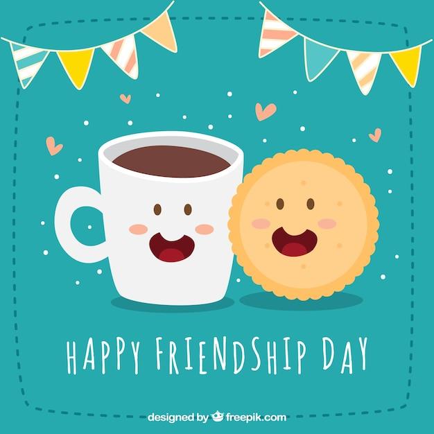 Fundo de dia de amizade feliz com biscoito e café Vetor grátis