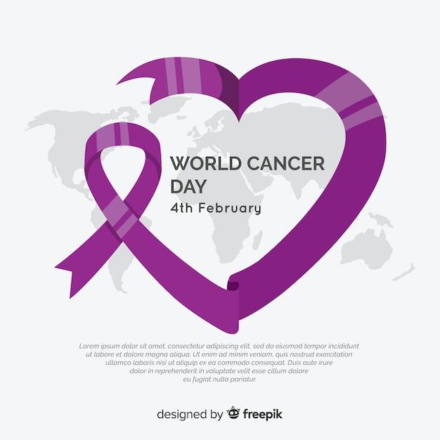 Fundo de dia de câncer de mundo plana Vetor grátis