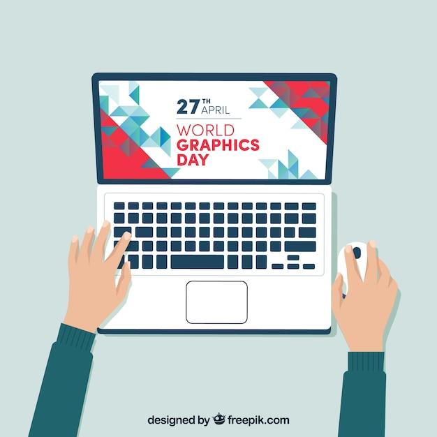 Fundo de dia de gráficos do mundo com laptop Vetor grátis