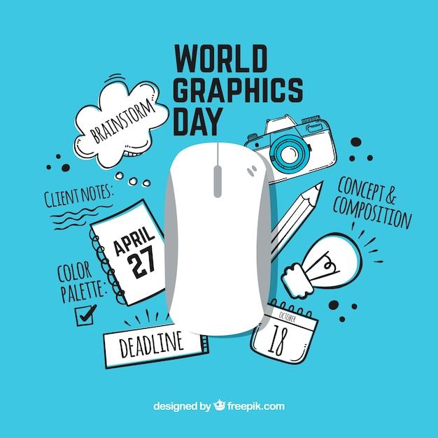 Fundo de dia de gráficos do mundo Vetor grátis