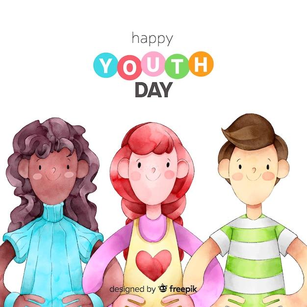 Fundo de dia de juventude de estilo aquarela Vetor grátis