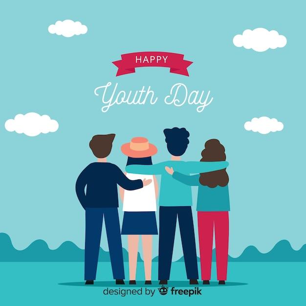Fundo de dia de juventude design plano Vetor grátis