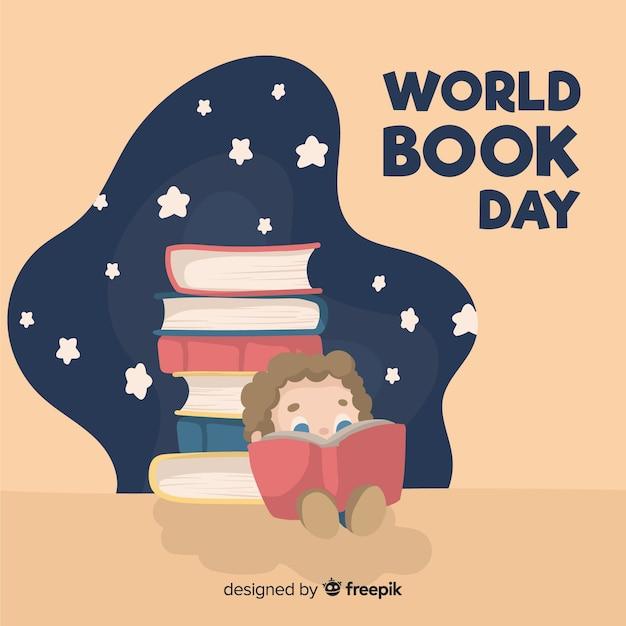 Fundo de dia de livro de mundo de mão desenhada Vetor grátis