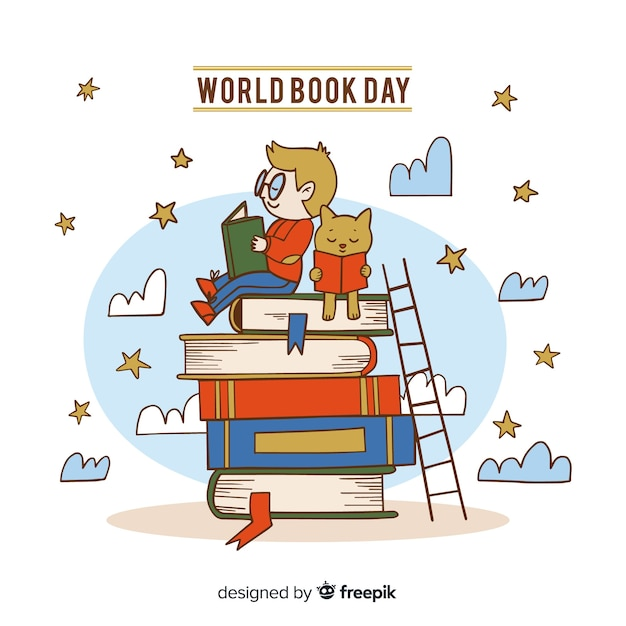 Fundo de dia de livro de mundo de mão desenhada Vetor Premium