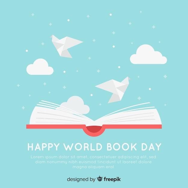 Fundo de dia de livro mundo plana Vetor grátis