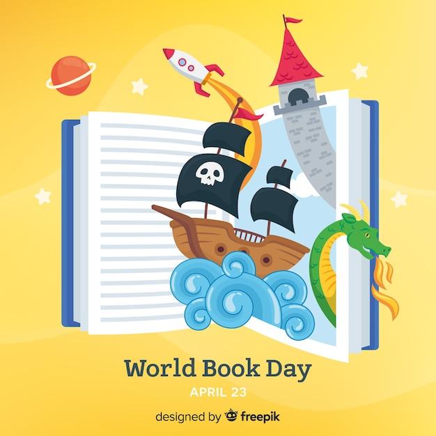 Fundo de dia de livro mundo plana Vetor Premium