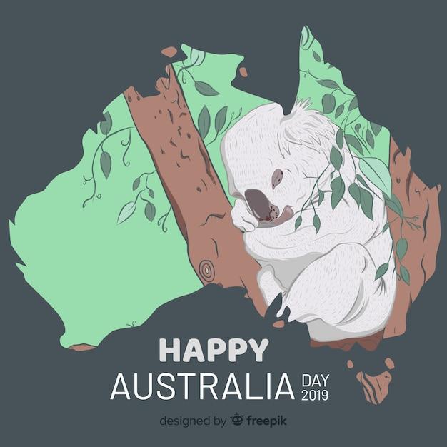 Fundo de dia de mão desenhada da austrália Vetor grátis