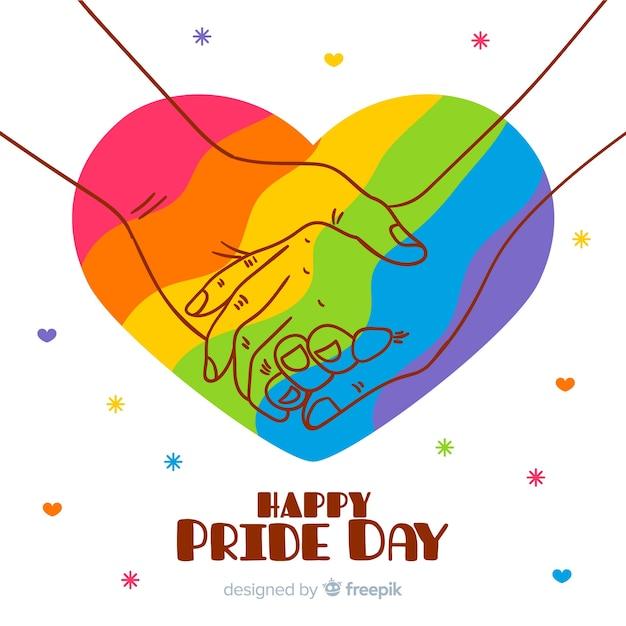 Fundo de dia de orgulho de mão desenhada Vetor grátis