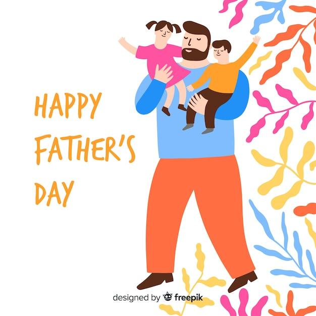 Fundo de dia de pais de mão desenhada Vetor grátis