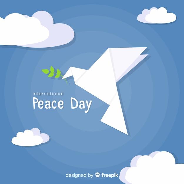 Fundo de dia de paz com origami moderno pomba Vetor grátis