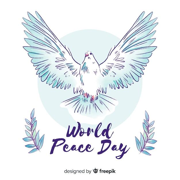 Fundo De Dia De Paz Em Aquarela Com Pomba Vetor Gratis