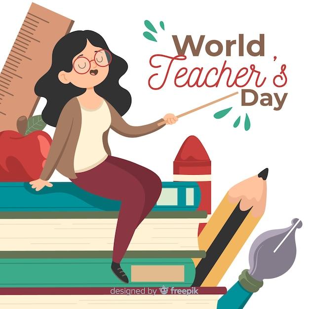 Fundo de dia de professores de mão desenhada Vetor grátis