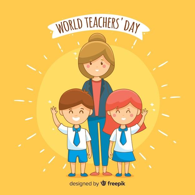 Fundo de dia de professores mundo desenhado à mão Vetor grátis