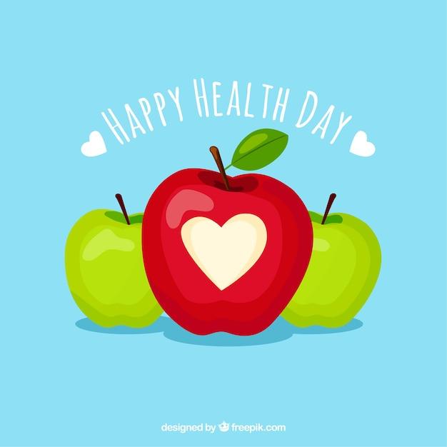 Fundo de dia de saúde com maçãs Vetor grátis