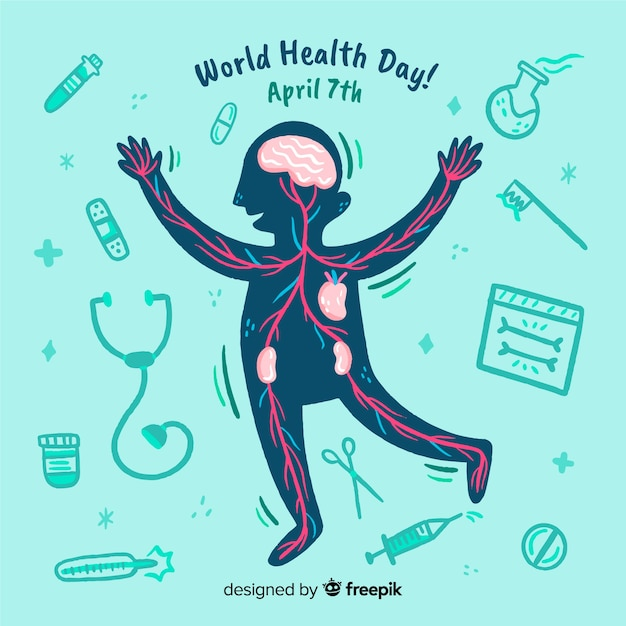 Fundo de dia de saúde de mão desenhada mundo Vetor grátis