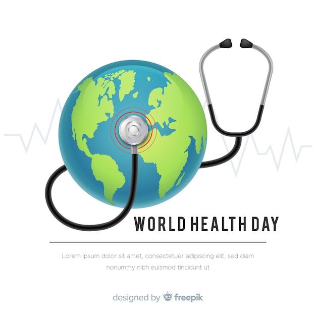 Fundo de dia de saúde do mundo realista Vetor grátis