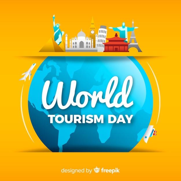 Fundo de dia de turismo com monumentos ao redor da terra Vetor grátis