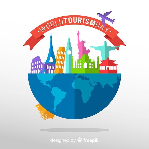 Fundo de dia de turismo com o mundo e monumentos em design plano Vetor grátis