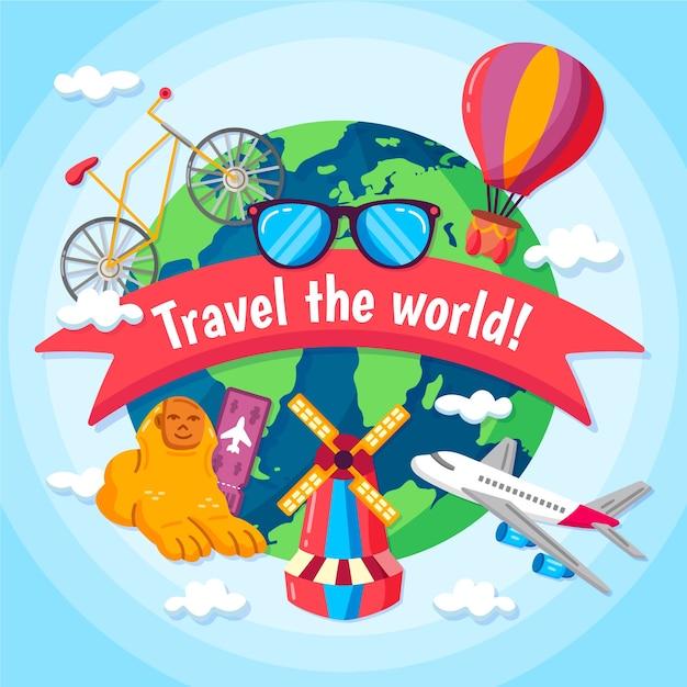Fundo de dia de turismo de mão desenhada Vetor grátis