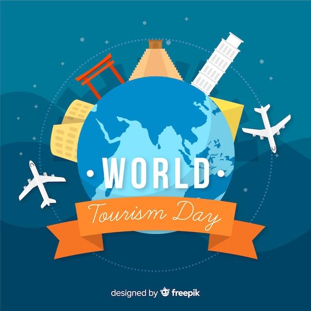 Fundo de dia de turismo mundo plana com marcos Vetor grátis