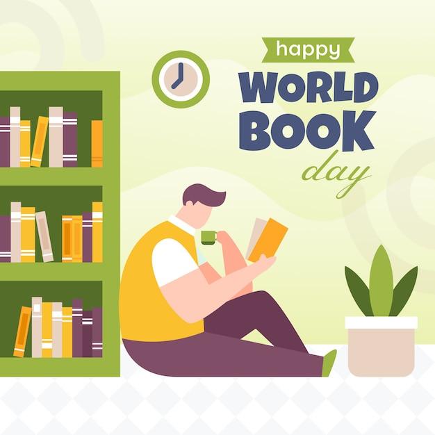 Fundo de dia do livro do mundo Vetor Premium