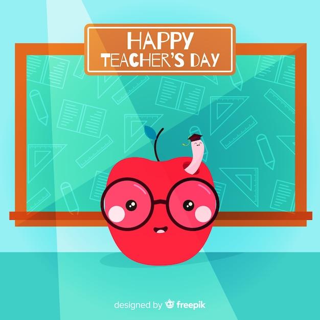 Fundo de dia do professor com apple e lousa em design plano Vetor grátis