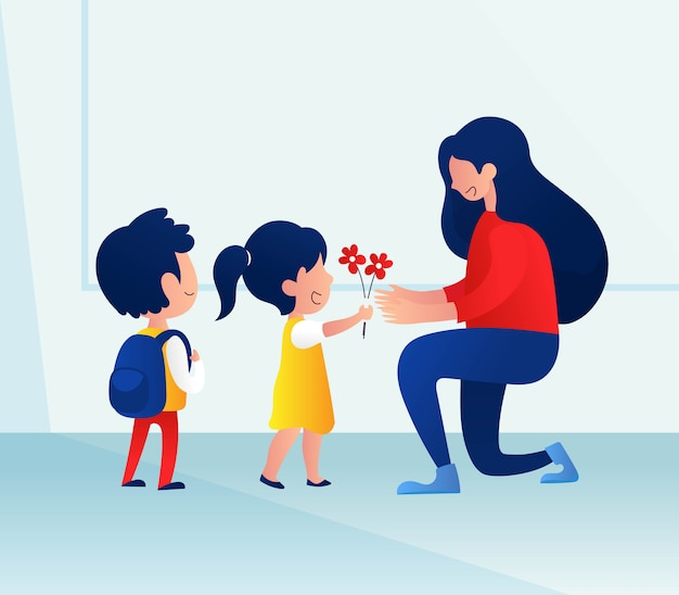 Fundo de dia do professor com crianças dando flores para seu professor Vetor Premium