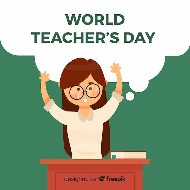 Fundo de dia do professor mundial com professora Vetor grátis