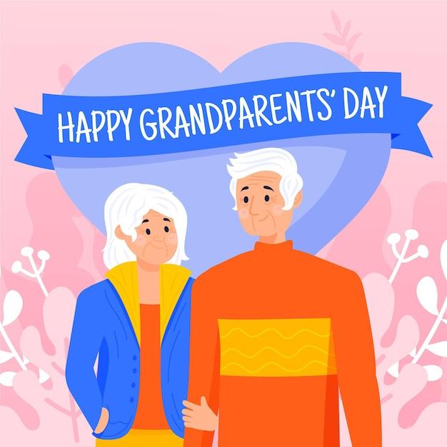 Fundo de dia dos avós nacionais mão desenhada Vetor grátis