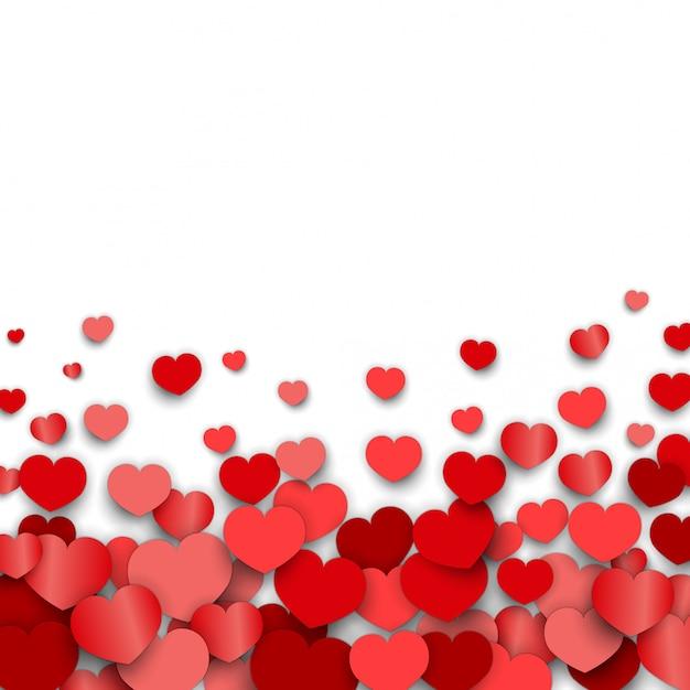 Fundo de dia dos namorados com adesivos de coração espalhados Vetor Premium