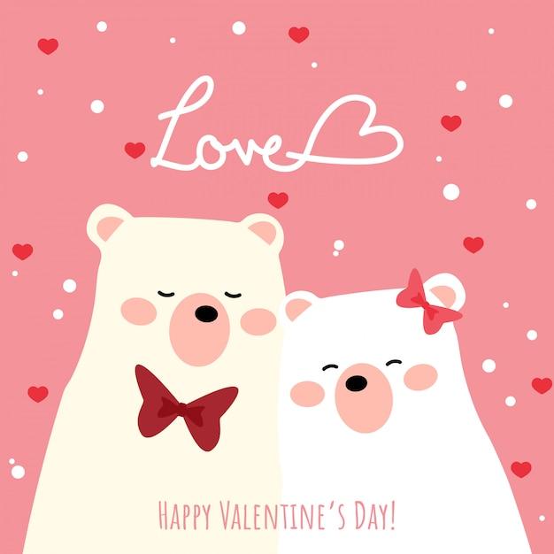 Fundo De Dia Dos Namorados Com Casal Fofo Urso Polar