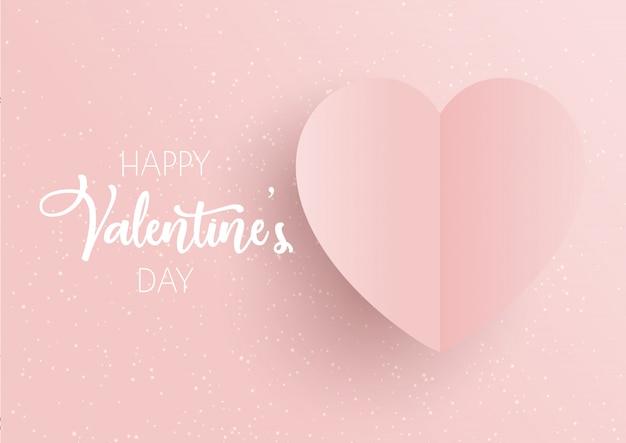 Fundo de dia dos namorados com coração rosa Vetor Premium