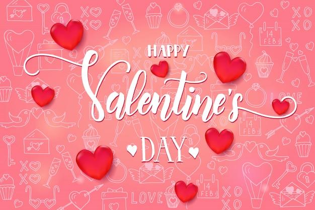 Fundo de dia dos namorados com coração vermelho 3d e moldura no padrão rosa Vetor Premium