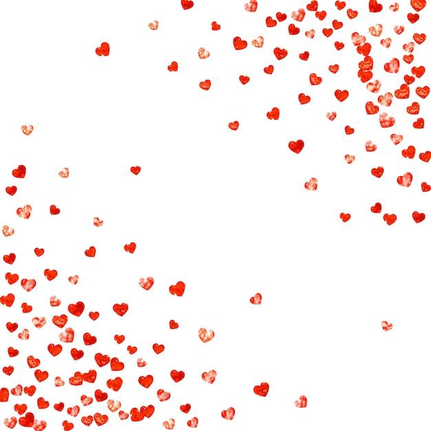 Fundo de dia dos namorados com corações de glitter rosa. Vetor Premium