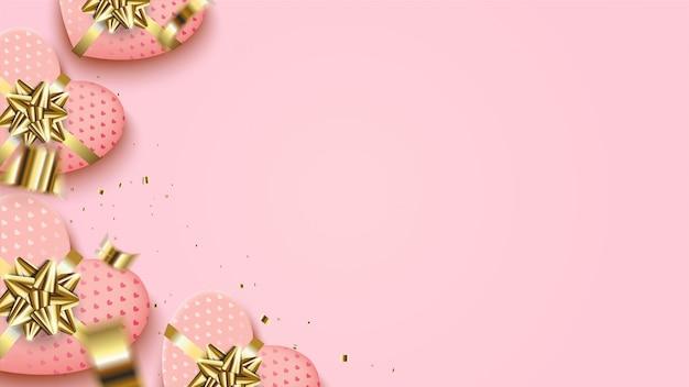 Fundo de dia dos namorados com uma ilustração de uma caixa de presente de amor rosa com uma fita de ouro. Vetor Premium